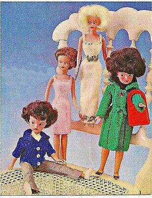 Sindy Barbie Knitting Pattern Dolls Clothes 4 ply Coat, Jacket, Halter Blouse