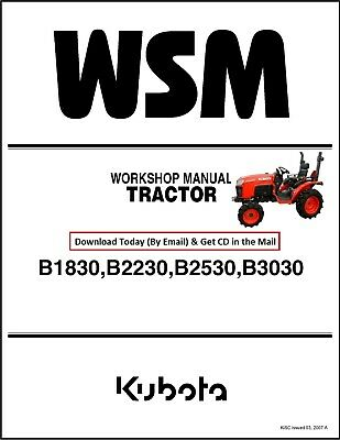 Kubota B 1830 2230 2530 3030 Tractor Workshop Manual Service Parts Manual