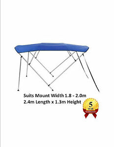 New Boat Bimini 4 Bow 1.8m - 2.0m Top Cover Canopy Blue FREE Rear Poles & Sock