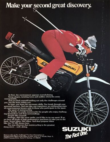 1978 Skier Skiing Downhill on Suzuki TS-185 Motorcycle photo vintage print ad