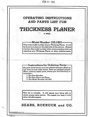 1952 Craftsman 103.1801 Wood Thickness Planer Instructions Parts Manual