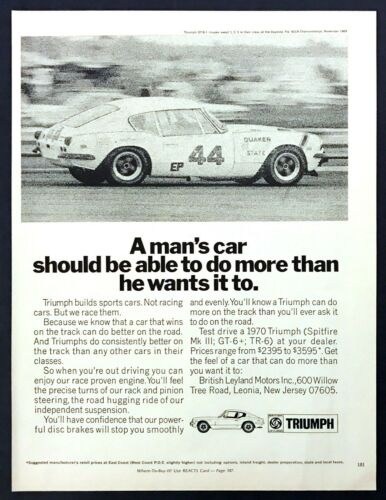 "1970 Triumph GT-6+ Coupe SCCA Racer photo ""Can Do More Than You Want"" print ad"