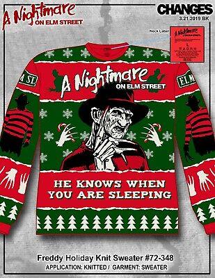 Freddy Krueger Christmas Sweater (Nightmare on Elm St Freddy Krueger Ugly Holiday Christmas Knit Sweater)