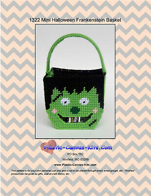 Mini Halloween Frankenstein  Basket- Plastic Canvas Pattern or