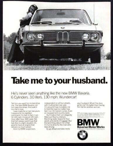 "1972 BMW Bavaria Sport Sedan photo ""Take Me to Your Husband"" vintage print ad"