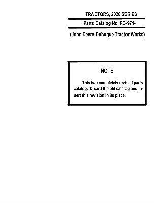 John Deere 2020 Tractor Parts Catalog Book Reproduction