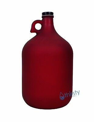 1 Gallon Frosted Glass Water Bottle Jar Jug Canteen Brew Container Canteen RED