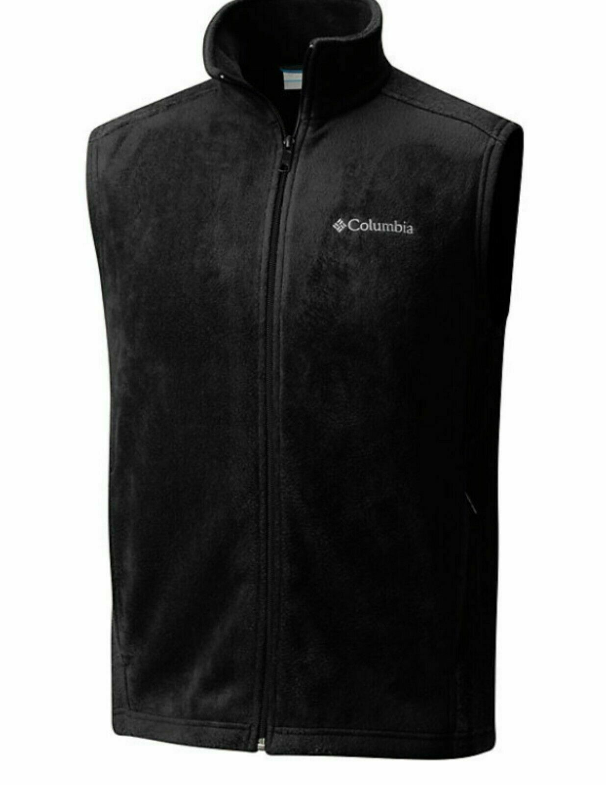 "New Mens Columbia ""Steens Mountain"" Full Zip Fleece Vest Bla"