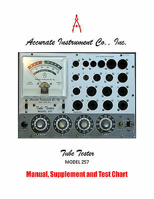 1968 Manual Set-up For Accurate Instrument Model 257 Tube Tester Supplements