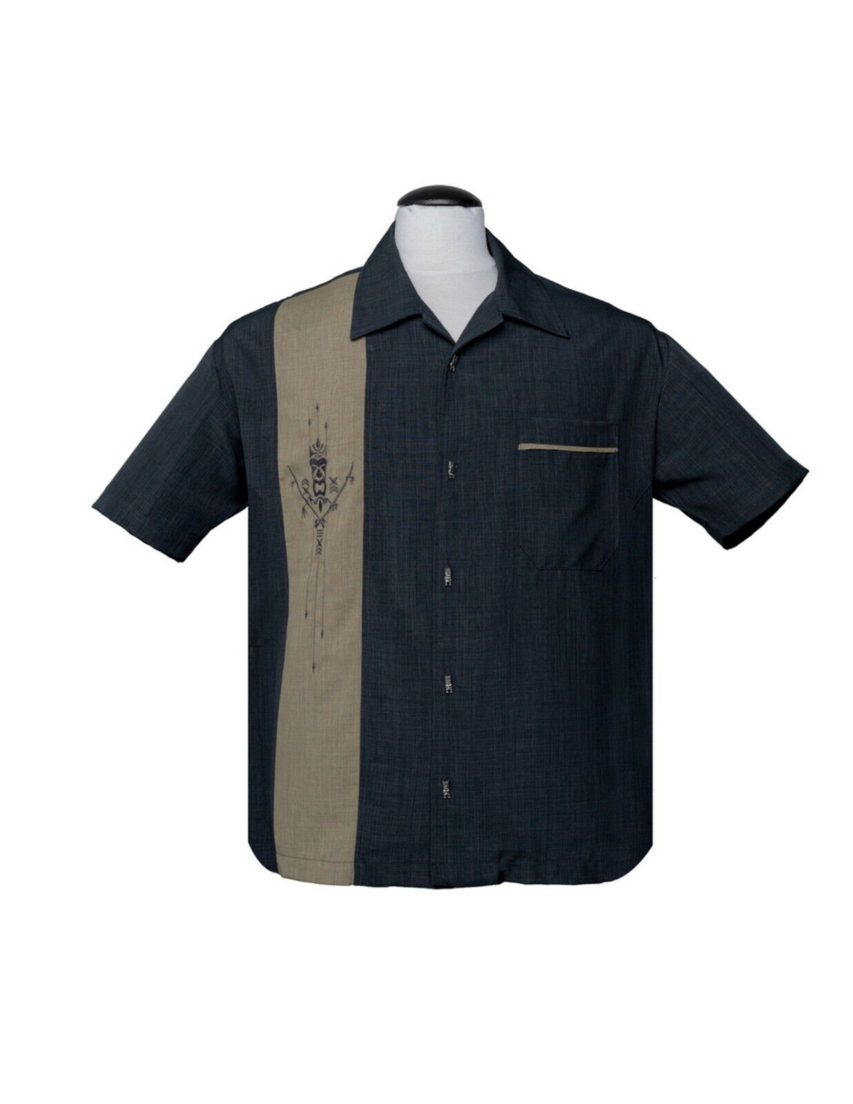 Steady Fly Me to The Moon in Black-Stone Bowling Shirt Retro Style Inspired