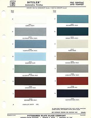 1963 PONTIAC AND TEMPEST PAINT CHIPS (DITZLER AND R-M)
