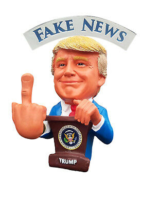 President Trump Funny Christmas F#K U Fake NEWS Bobble Middle Finger Bobblehead - Funny Bobble Head