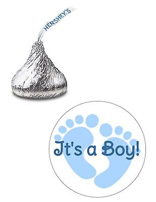 216 ITS A BOY BABY SHOWER BLUE FEET HERSHEY KISS KISSES CANDY LABELS FAVORS