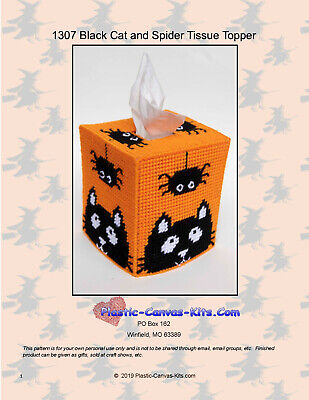 Black Cat Patterns Halloween (Halloween Black Cat and Spider Tissue Topper-Plastic Canvas Pattern or)