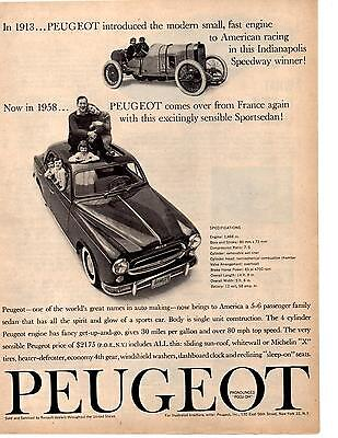 1958 PEUGEOT 403  ~  CLASSIC ORIGINAL PRINT AD