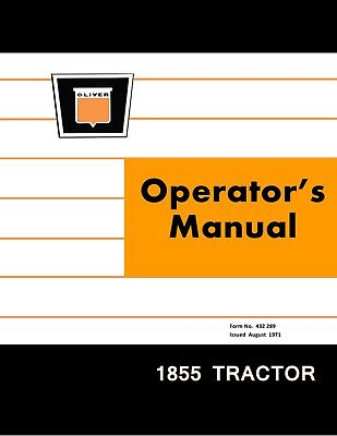 New Oliver 1855 Tractor Operators Manual Reproduction