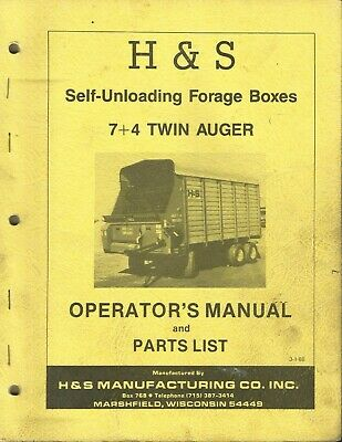 Hs Self-unloading Forage Boxes 74 Twin Auger Parts List Operators Manual