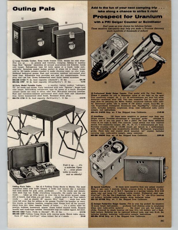 1957 PAPER AD Sled Flexible Flyer Geiger Counter PRI Scintillator Snooper Pocket