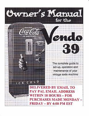 Vendo Soda Vending Service Manual Model V-39 23 Pages .pdf Delivered By Email