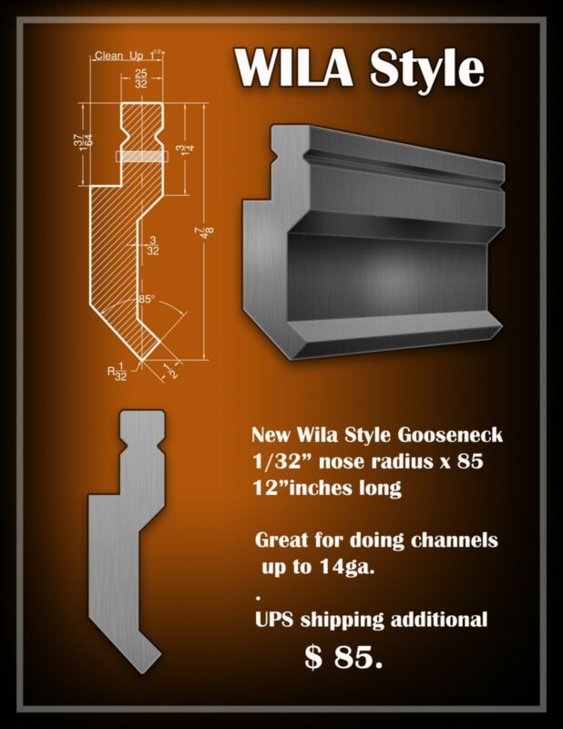 Press Brake Tooling ...Wila Style..Custom Gooseneck...14ga rating