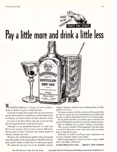 1938 Ad Distilled Fleischmann