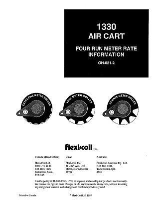 New Holland 1330 Air Cart 4 Run Rate Charts Info. Flexi Coil Operators Manual