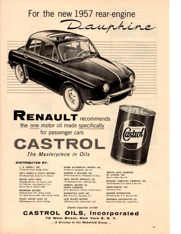 1957 RENAULT DAUPHINE  ~  RARE ORIGINAL CASTROL OIL PRINT AD