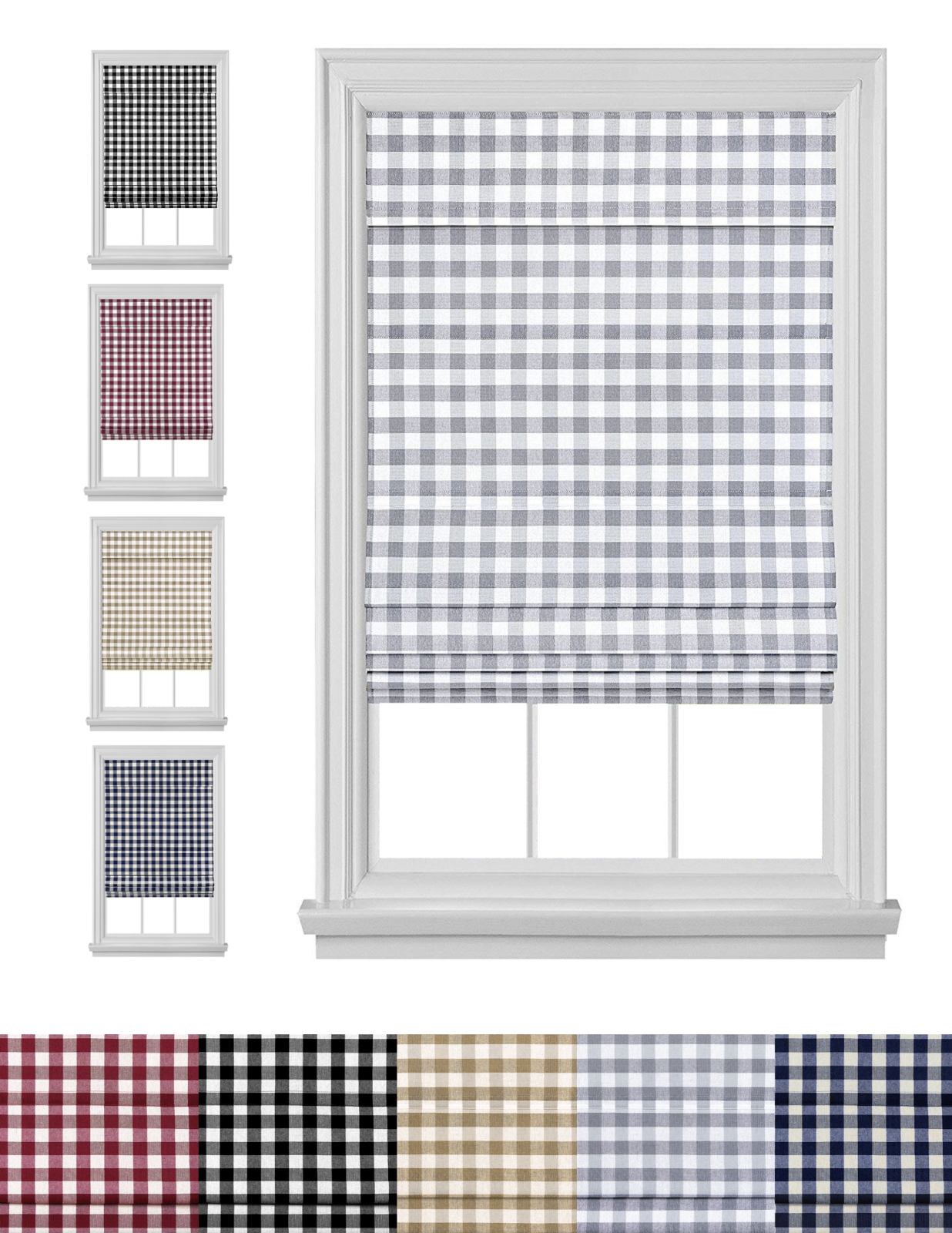 Retractable Plaid Custom Cordless Roman Window Shades - Asso