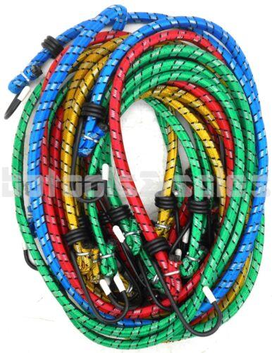 """10pc Bungee Cord Tie Down Set 12"""" 18"""" 24"""" 30"""" 36"""" H-D Color Straps 2 Hook End"""