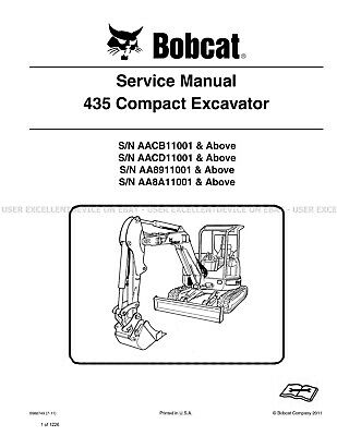 Bobcat 435 Excavators Revision 2011 Update Printed Service Manual 6986749