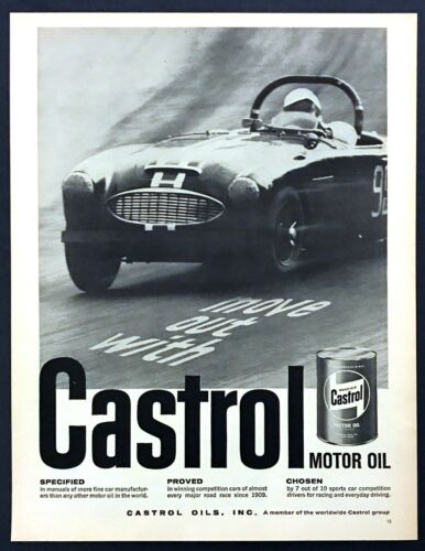 1961 Austin-Healey 3000 Road Racer photo Castrol Motor Oil vintage print ad