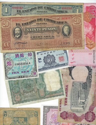 WORLD PAPER MONEY MISCL  ABOUT 28 PCS  SOME UNC MANY CIRCULATED   LOT
