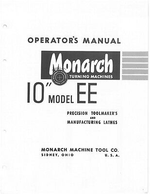 Monarch 10ee Older Metal Lathe Operators Maintenance Manual On Cd