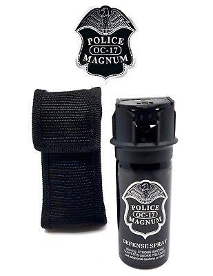 Police Magnum pepper spray 2oz Flip Top Nylon Holster Belt Loop Defense Security