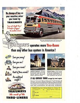 Trailways Bus 77 All-Expense Tours No change of bus  1948 OZ381