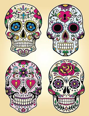 candy sugar skull day of the dead decal vinyl sticker color 4 designs, 5 - Day Of The Dead Stickers