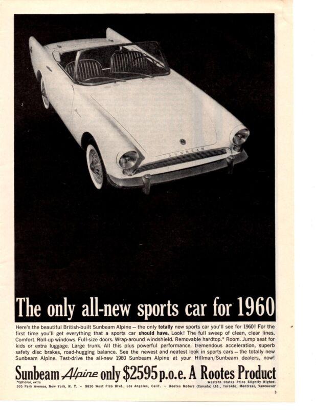 1960 SUNBEAM ALPINE  ~  ORIGINAL PRINT AD