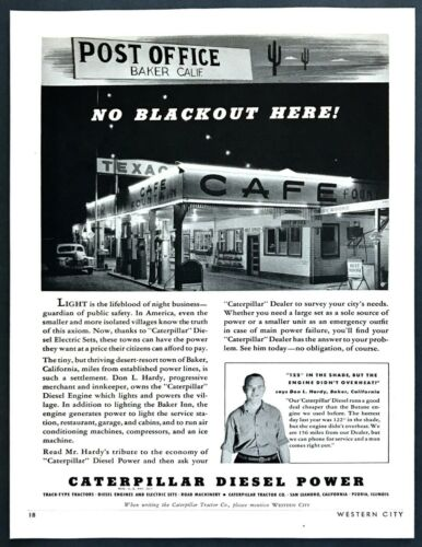 1941 Baker, California Cafe/Post Office/Gas Station photo Caterpillar print ad