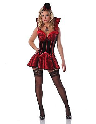 Delicious First Bite Sexy Lady Vampire Halloween Costume, Black/Red, Small NEW