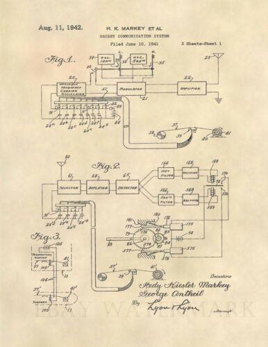 Hedy Lamarr Communication US Patent Art Print - Vintage WWII WW2 Secret - 553