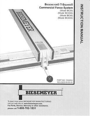 Delta Biesemeyer Tsquare Universal Fence System Instruction Maintenance Manual