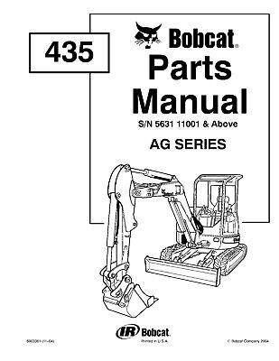Bobcat 435 Compact Excavator Parts Manual Pn 6903361 1104 On Cd