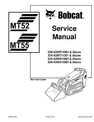 Bobcat Mt52 Mt55 Compact Track Loader Service Repair And Operators Manual On Cd