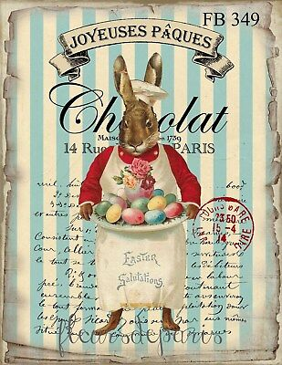 Shabby Chic Vintage Easter Bunny Fabric Block Quilting Sewing Crafting FB 349 (Easter Bunny Crafts)