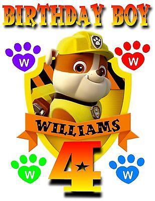 NEW PERSONALIZED PAW PATROL RUBBLE BULLDOG PUP T SHIRT BIRTHDAY ADD NAME, AGE](Paw Patrol Puppy Names)