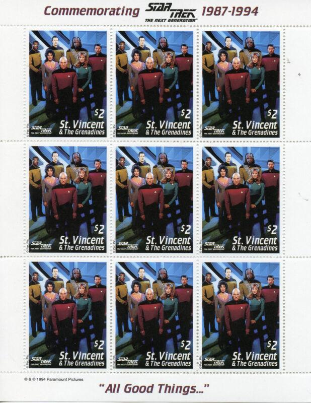 St+Vincent+%26+Grenadines+1994+MNH+Star+Trek+Next+Generation+2x+9v+M%2FS+Stamps
