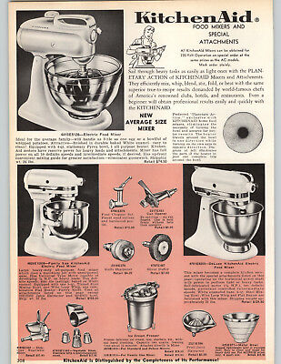 1962 PAPER AD Kitchenaid Electric Food Mixer 3 Models Deluxe Family Size