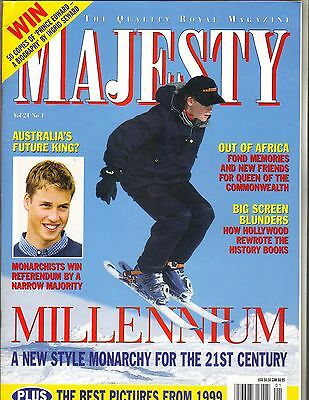 Prince William Harry Uk Majesty Magazine 1 00 Vol 21 No 1 Best Pictures 1999