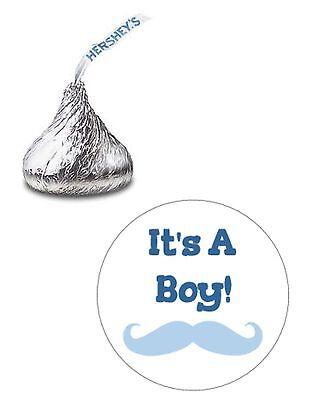 108 ITS A BOY BLUE MUSTACHE BABY SHOWER HERSHEY KISS KISSES CANDY STICKERS *