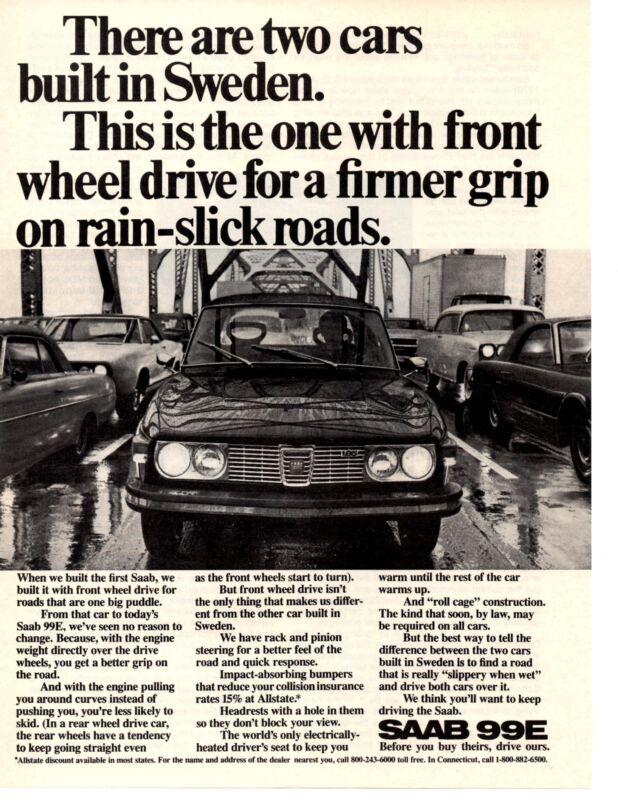 1972 SAAB 99E  ~  NICE ORIGINAL PRINT AD
